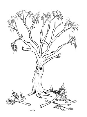 cartoonlionstailedtree